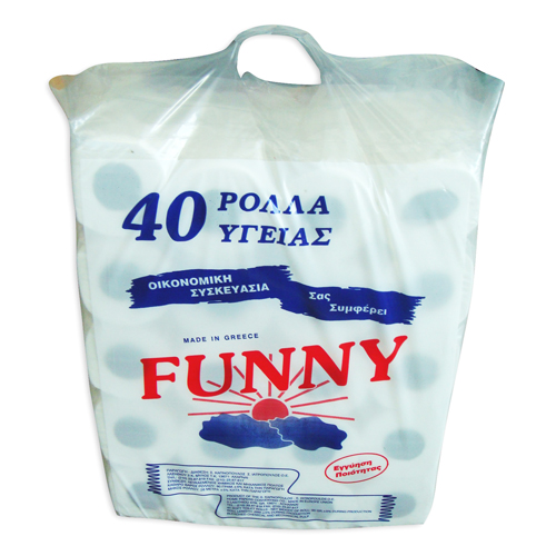 COMPACT  PLASTIC BAG  PRINTED FOR 40  TOILET ROLLS
